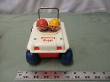 Vintage Fisher Price Bouncing Buggy 122 People in vehicle Toy Fun Play White Car