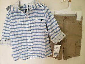 Oshkosh Hooded Shirt Gymboree Cactus Cutie Shorts Baby Boy 24 Months 2pc Set NWT