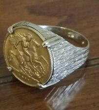 ANELLO ORO UOMO MONETA 1/2 STERLINA SIGILLO SOLITARIO DONNA unico