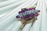 10K .40ct Ruby Diamond 3 Row Pyramid Ring Size 6.5 Yellow Gold Estate Vintage