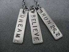 DREAM BELIEVE RUN 26.2~18 inch Gunmetal Chain~MARATHON RUNNING JEWELRY