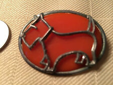 Vintage Metal & Orange Plastic Scottie Dog Pin Brooch Art Deco? p371