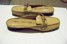 womens white stag brace tan slip on open heel loafers shoes size 6