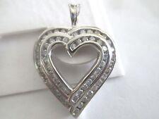 10K White Gold Diamond Heart Pendant Dia=1.75 Carats  G-SI2    32 X 23 MM