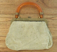 ANTIQUE 1930'S WHITING & DAVIS GOLD TONE MESH EVENING BAG AMBER TONE HANDLE