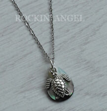 Abalone Shell Mother of Pearl Little Sea Turtle Pendant Necklace Ladies Gift