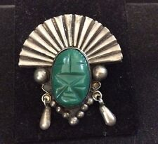 VINTAGE STERLING SILVER CARVED MALACHITE PIN