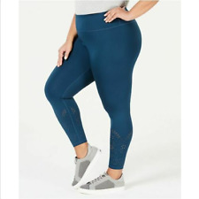 Ideology Perforated Ankle Leggings Teal Size Plus 3X