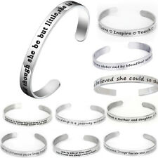 Stainless Steel Engraved Love Wish Letters Cuff Bracelet Bangle Family Jewelry