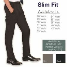 Slim Fit Flat Front Trousers for Men