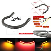 Cafe Racer Seat Frame Hoop Loop w LED Brake Turn Signal Light Lamp Upswept 217mm