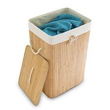 Relaxdays Panier À linge pliant pliable coffre Rangement en Tissu/ Bambou S