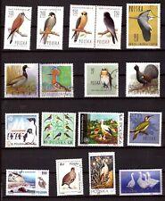PM112 POLOGNE 17timbres ,les oiseaux et palmipedes:rapaces,canards,oies,oiseaux