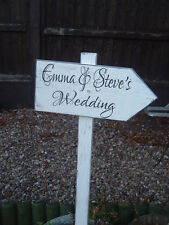 Shabby wooden wedding arrow sign vintage wedding this way personalised arrow