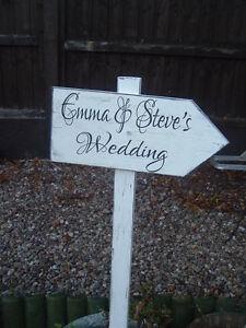 Shabby wooden wedding arrow sign vintage wedding this way personalised arrow