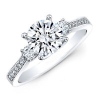 1.50 Ct Moissanite Certified Diamond Solitaire Engagement Ring 14K White Gold