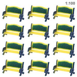 12pcs Model Train Platform Park Street Bench Chair Settee1:100 HO TT Scale