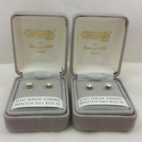 Concepts Real 14k Gold White Round Natural Diamond Stud Earrings Sensitive Ears