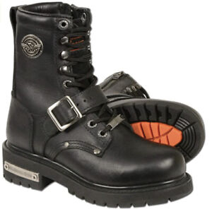 Milwaukee Leather MBL201 Womens Boots Lace-Up with Buckle BLACK Size 7.5 M