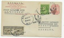 """USA 1930 - First Katapult with S.S. """"Europa"""" -Postcard to Fürth / Germany"""