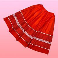 VINTAGE Carefree Fashions Womens Midi Skirt Medium Red Polka Dot Lace Cotton USA