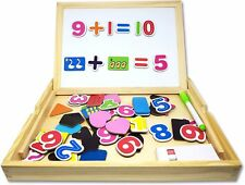 Wooden Magnetic and Chalk Board  Kids Childrens Educational Toys ABC 123 Game