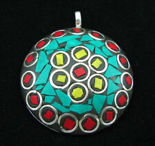 925 Silver Plated Red Coral Turquoise Stone Ethnic Nepali Pendant Jewelry - 3042