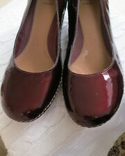 Clarks Womens Patent Burgundy Leather Shoes Size 7 Never worn wide fit