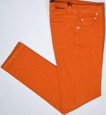 Kiton Mens Orange Woven Cotton Wool Elastane Button Fly Slim Jeans Size 32 NEW