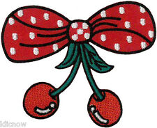 """Cherries & Bow Embroidered Patch 8cm x 6.5cm (3"""" x 2 1/2"""")"""