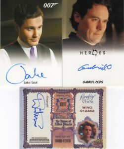 Lot of three (3) Actor/Celebrity Autographs: James Bond, Heroes, Firefly