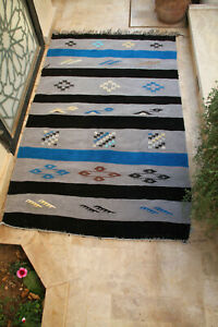 Old Vintage Moroccan Rug  Authentic Carpet Handmade Berber Tribal Azilal Wool