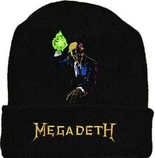 Megadeth Rust in Peace Wool Hat Black Beanie Knit Word Logo Dave Mustaine