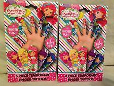 Strawberry Shortcake 5 Piece Temporary Finger Tattoos Set lot Of 2-kids girls