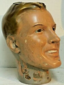 VERY OLD MANNEQUIN HEAD WITH GLASS EYES 1920s ? ART DECO DISPLAY MODEL VERY RARE
