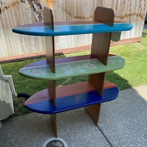 Large Custom Made Surfboard Free Standing Wood Bookcase Shelves - Local Pickup