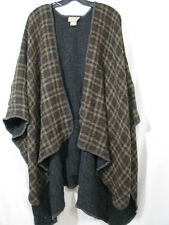 BOYNE VALLEY WEAVERS Ireland PONCHO CAPE JACKET SWEATER Wool Blend BROWN/GRAY