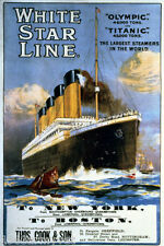 LARGE NEW Art Poster Titanic White Star Line Serigraph   Retail Value $300