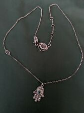 Juicy Couture Silver Hamsa Evil Eye Adjustable Charm Necklace