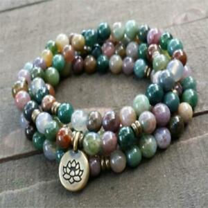 6mm 108 India agate Gemstone mala energy yoga Bracelet Healing Wrist Fancy men