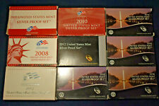 2007-2010, 2012-2016 US Silver Proof Sets - 9 Set Lot