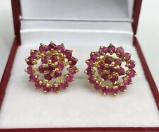 14k Solid Yellow Gold Cluster Round Shape Stud Earrings, Natural Ruby 3.59 Grams