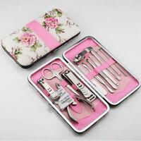 Nail Care 12 Piece Cutter Cuticle Clipper Manicure Pedicure Kit Case Set Gift#