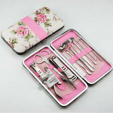 Nail Care 12 Piece Cutter Cuticle Clipper Manicure Pedicure Kit Case Set Gift#