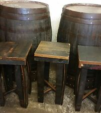 RUSTIC 44 Gallone Barrel WHISKEY BAR Poser Tavola Set 4 SGABELLI