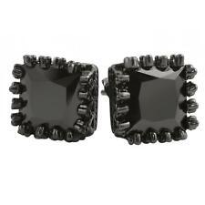 Bling Earrings Iced Out Ear Jewelry Hip Hop 3D Pentagon Black Cz Bling