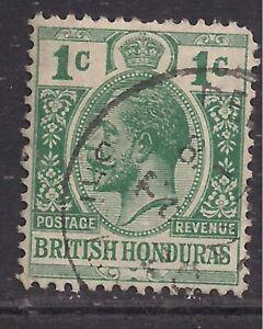 British Honduras 1913 - 21 KGV 1ct Green used SG 101 ( A531 )