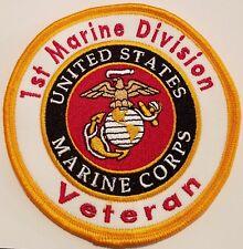 1st Marine Division Veteran. United States Marine Corps Iron-On Patch Usmc