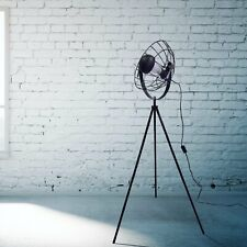 Modern Black Tripod Floor Lamp Studio Light with Retro Cage Design Shade