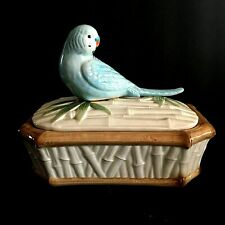 Vintage Fitz and Floyd Blue Parakeet Budgie On Bamboo Trinket Box